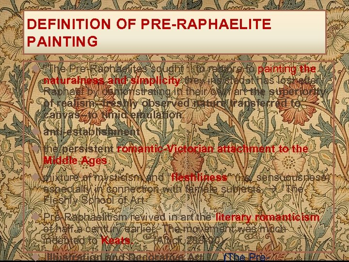 DEFINITION OF PRE-RAPHAELITE PAINTING u