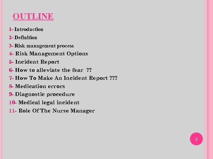 OUTLINE 1 - Introduction 2 - Definition 3 - Risk management process 4 -