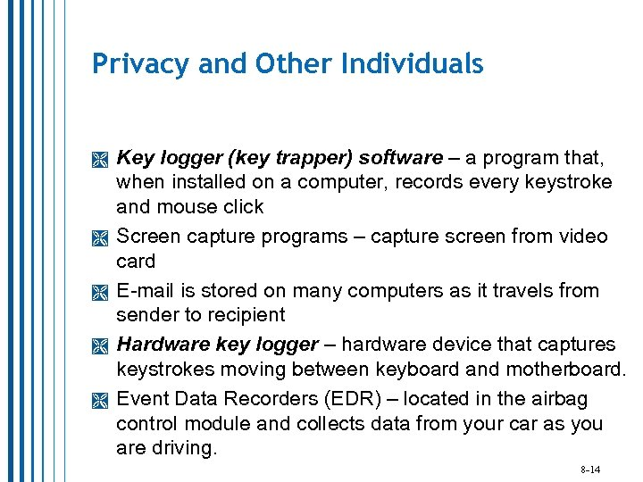 Privacy and Other Individuals Key logger (key trapper) software – a program that, when