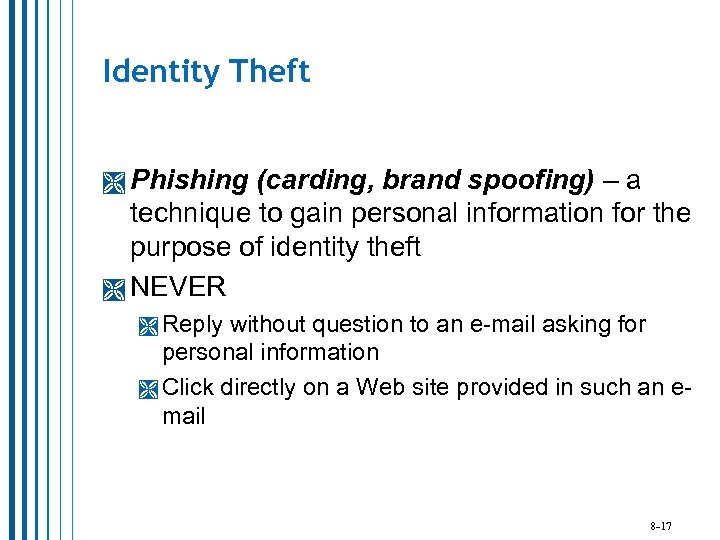 Identity Theft Phishing (carding, brand spoofing) – a technique to gain personal information for