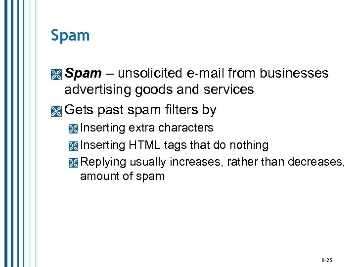 Spam – unsolicited e-mail from businesses advertising goods and services Gets past spam filters