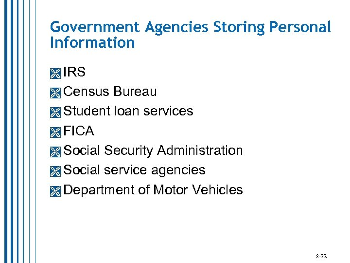 Government Agencies Storing Personal Information IRS Census Bureau Student loan services FICA Social Security
