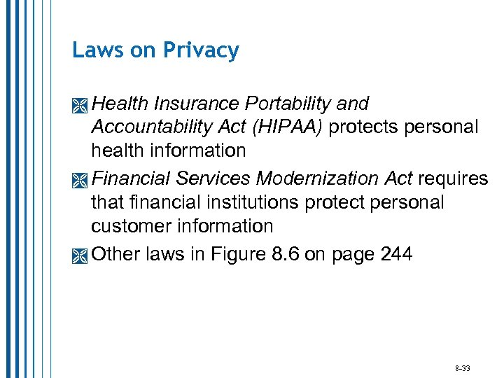 Laws on Privacy Health Insurance Portability and Accountability Act (HIPAA) protects personal health information