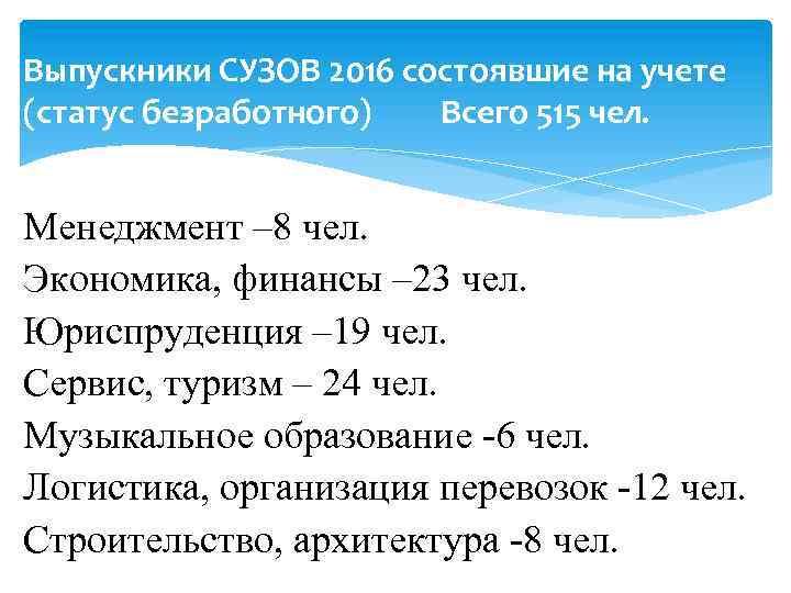 Выпускники СУЗОВ 2016 состоявшие на учете (статус безработного) Всего 515 чел. Менеджмент – 8