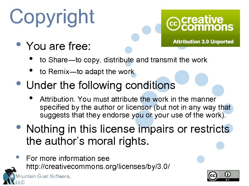 Copyright • You are free: • • to Share―to copy, distribute and transmit the