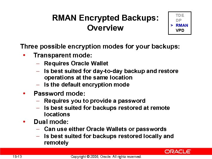 RMAN Encrypted Backups: Overview TDE DP > RMAN VPD Three possible encryption modes for