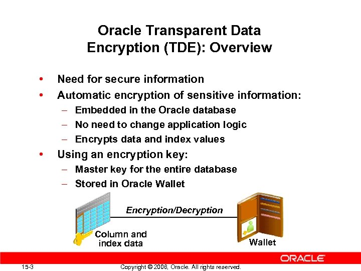 Oracle Transparent Data Encryption (TDE): Overview • • Need for secure information Automatic encryption