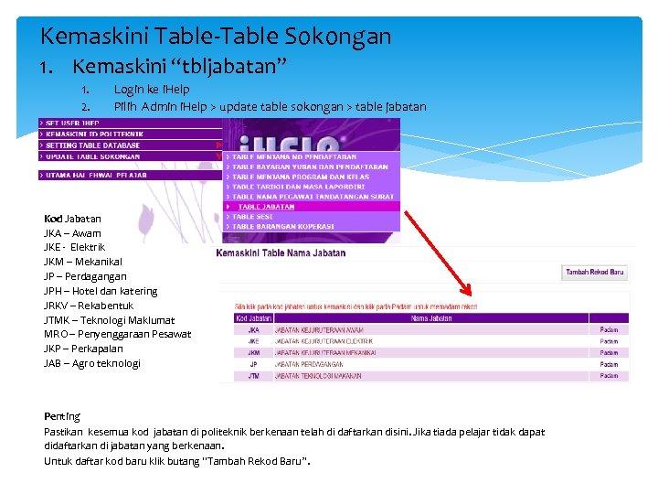 """Kemaskini Table-Table Sokongan 1. Kemaskini """"tbljabatan"""" 1. 2. Login ke i. Help Pilih Admin"""
