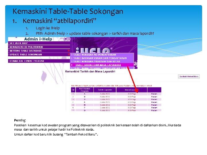 """Kemaskini Table-Table Sokongan 1. Kemaskini """"atbllapordiri"""" 1. 2. Login ke i. Help Pilih Admin"""