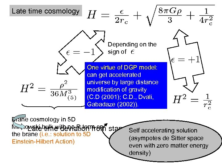 Late time cosmology Depending on the sign of One virtue of DGP model: can