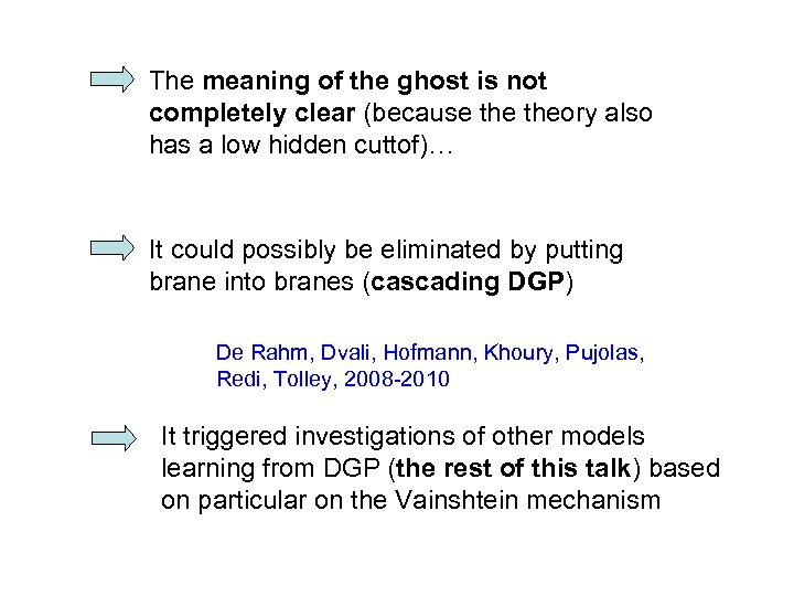 The meaning of the ghost is not completely clear (because theory also has a