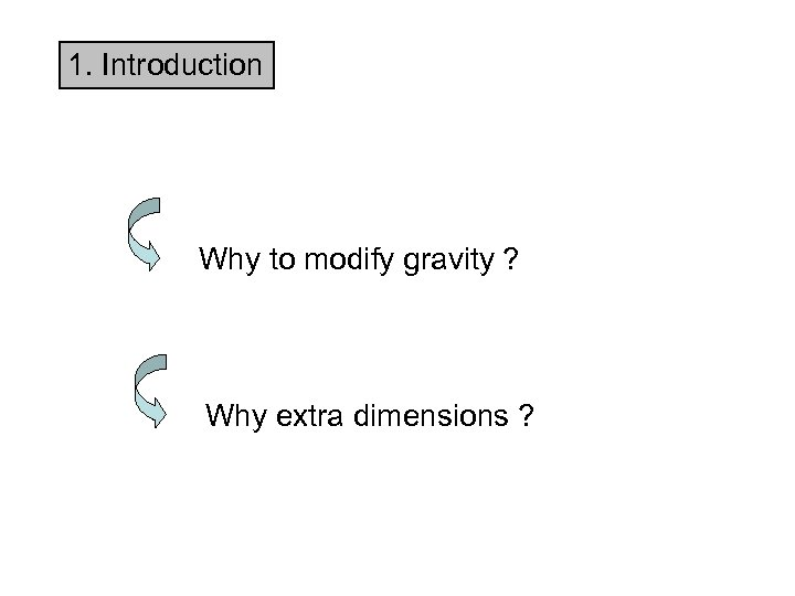 1. Introduction Why to modify gravity ? Why extra dimensions ?