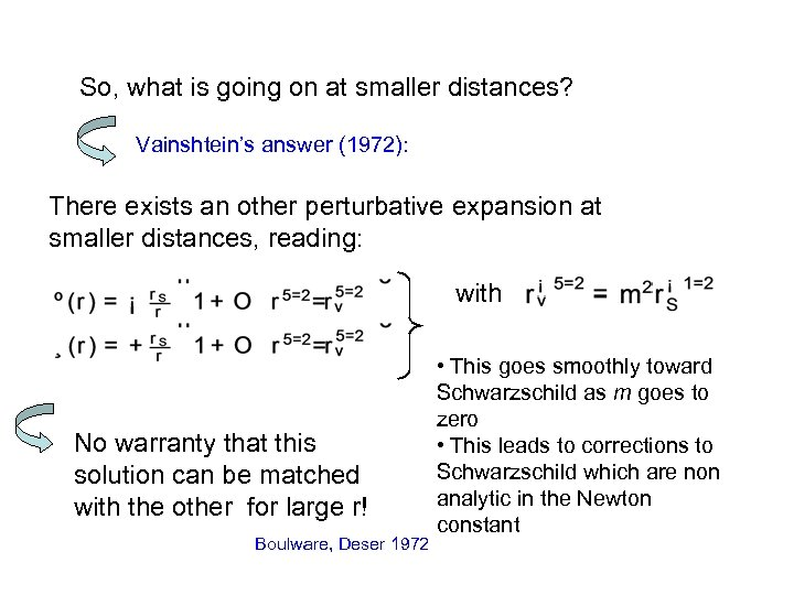 So, what is going on at smaller distances? Vainshtein's answer (1972): There exists an