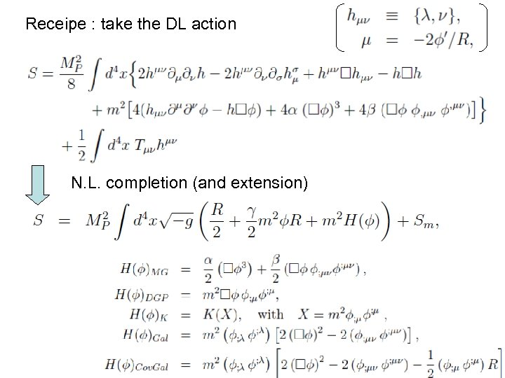 Receipe : take the DL action N. L. completion (and extension)