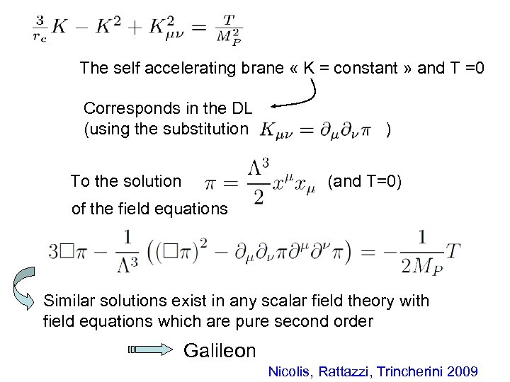 The self accelerating brane « K = constant » and T =0 Corresponds in