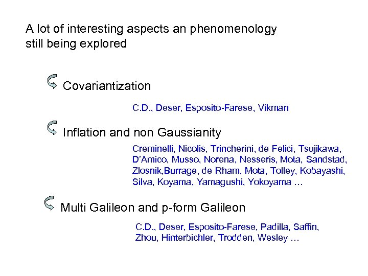 A lot of interesting aspects an phenomenology still being explored Covariantization C. D. ,