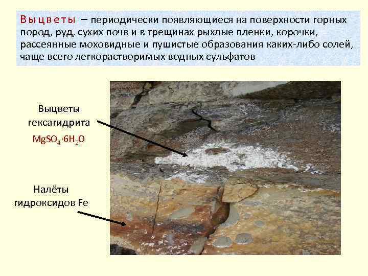 В ы ц в е т ы – периодически появляющиеся на поверхности горных пород,