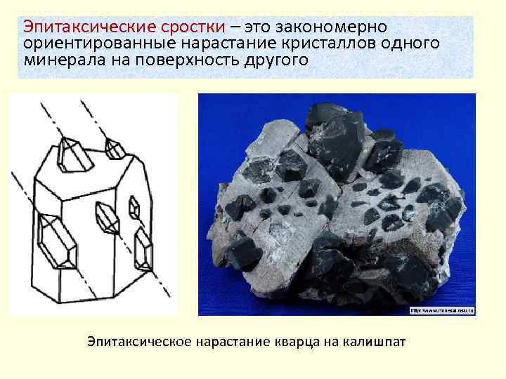 Эпитаксические сростки – это закономерно ориентированные нарастание кристаллов одного минерала на поверхность другого Эпитаксическое