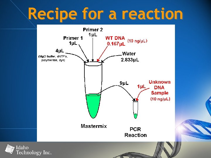 Recipe for a reaction