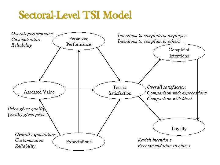 Sectoral-Level TSI Model Overall performance Customization Reliability Perceived Performance Intentions to complain to employee