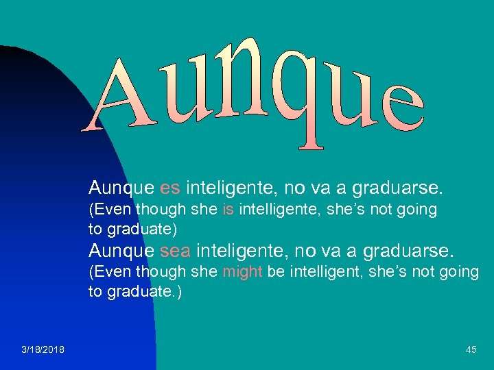 Aunque es inteligente, no va a graduarse. (Even though she is intelligente, she's not