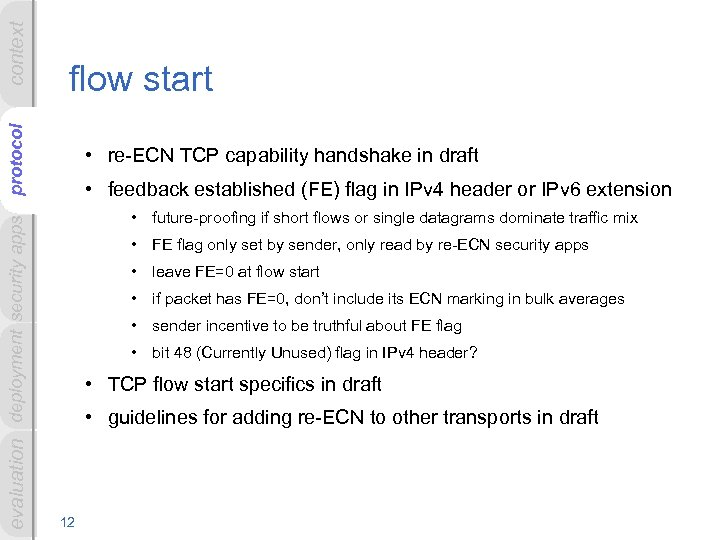 context evaluation deployment security apps protocol flow start • re-ECN TCP capability handshake in