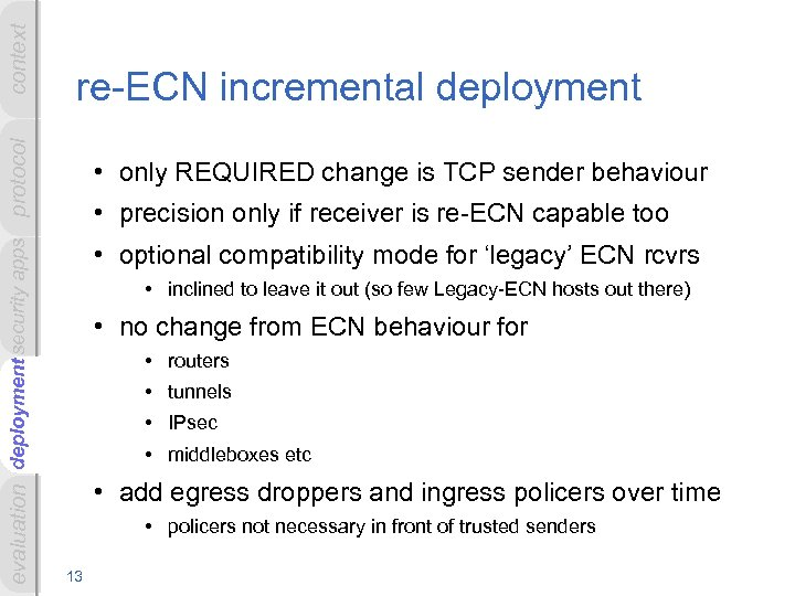 context deployment evaluation deployment security apps protocol re-ECN incremental deployment • only REQUIRED change