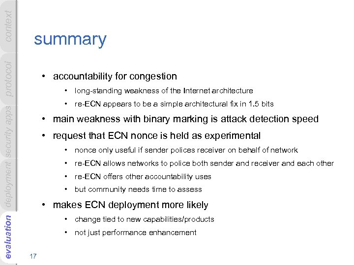 context evaluation deployment security apps protocol summary • accountability for congestion • long-standing weakness