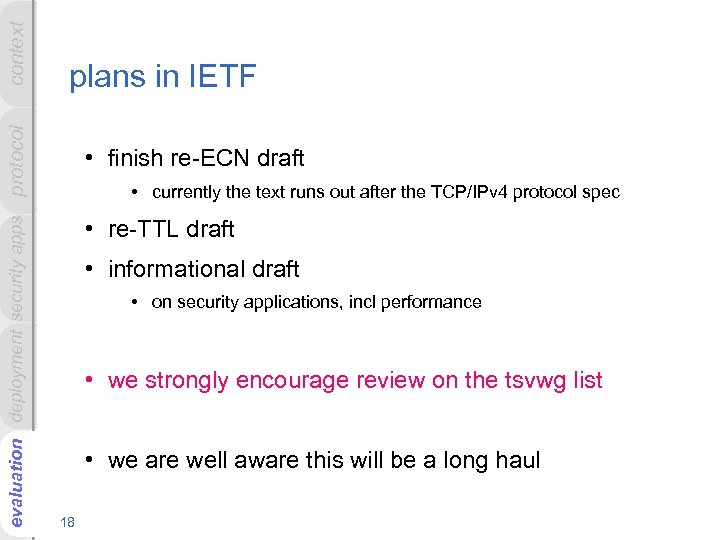 context evaluation deployment security apps protocol plans in IETF • finish re-ECN draft •