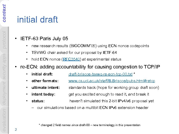context evaluation deployment security apps protocol initial draft • IETF-63 Paris July 05 •