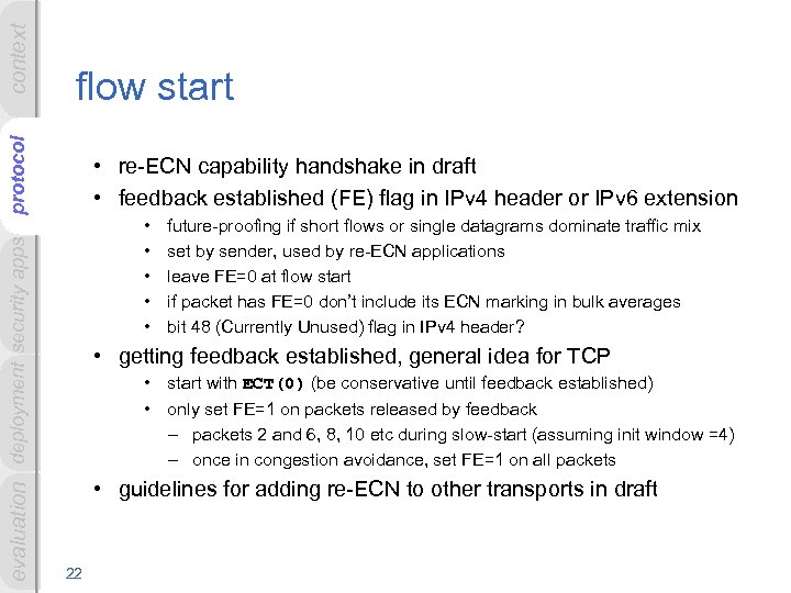 context evaluation deployment security apps protocol flow start • re-ECN capability handshake in draft