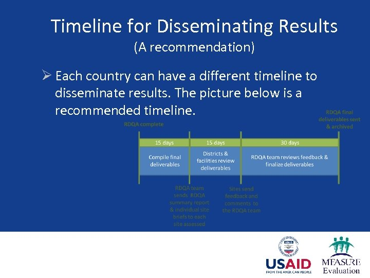 Timeline for Disseminating Results (A recommendation) Ø Each country can have a different timeline