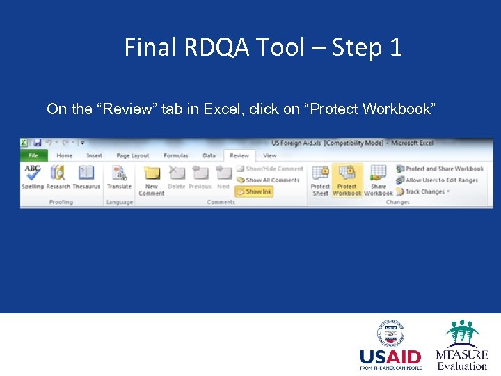 """Final RDQA Tool – Step 1 On the """"Review"""" tab in Excel, click on"""