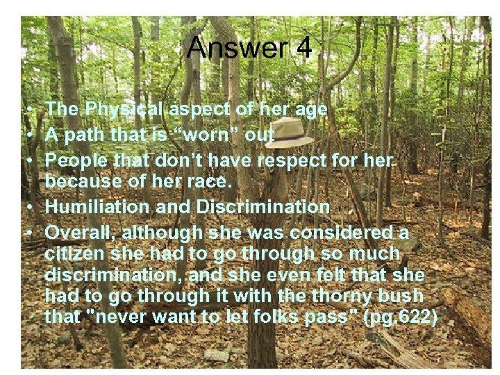 a worn path summary and analysis