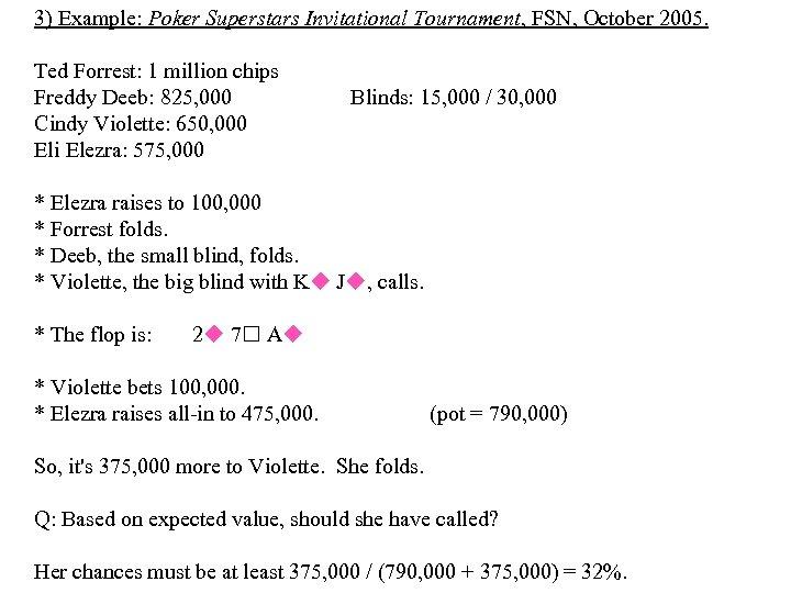 3) Example: Poker Superstars Invitational Tournament, FSN, October 2005. Ted Forrest: 1 million chips