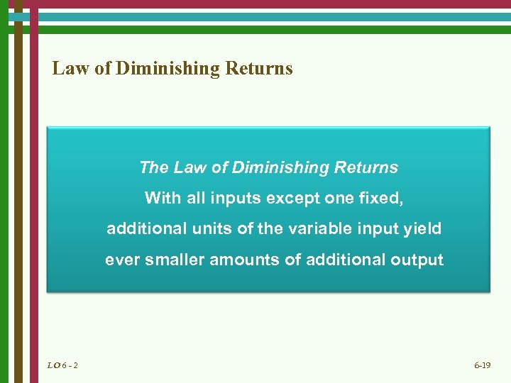 Law of Diminishing Returns The Law of Diminishing Returns With all inputs except one