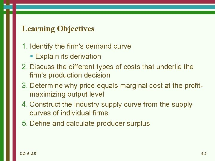 Learning Objectives 1. Identify the firm's demand curve § Explain its derivation 2. Discuss
