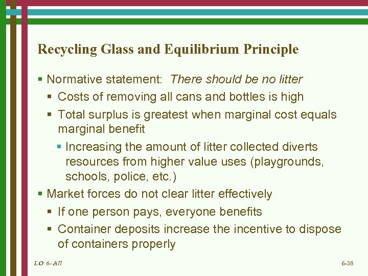 Recycling Glass and Equilibrium Principle § Normative statement: There should be no litter §