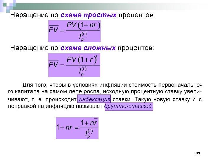 Наращение по схеме простых процентов: Наращение по схеме сложных процентов: 31