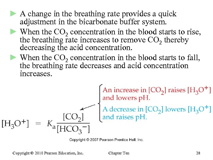 ► A change in the breathing rate provides a quick adjustment in the bicarbonate