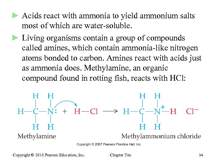 ► Acids react with ammonia to yield ammonium salts most of which are water-soluble.