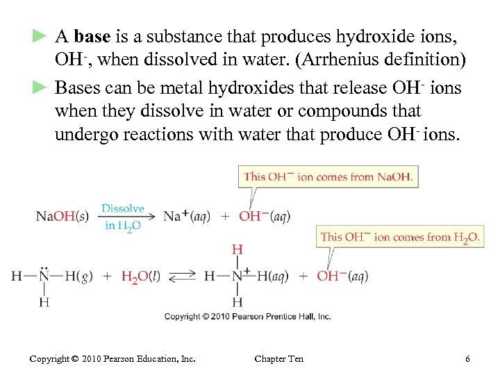 ► A base is a substance that produces hydroxide ions, OH-, when dissolved in