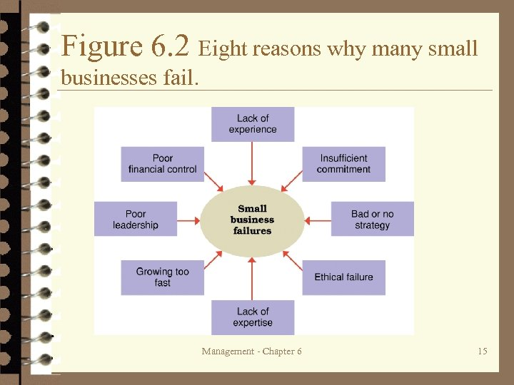 Figure 6. 2 Eight reasons why many small businesses fail. Management - Chapter 6
