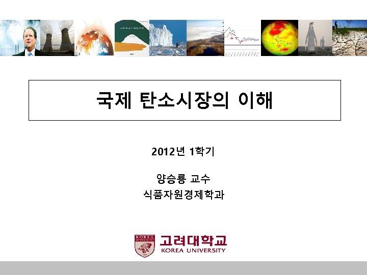 국제 탄소시장의 이해 2012년 1학기 양승룡 교수 식품자원경제학과