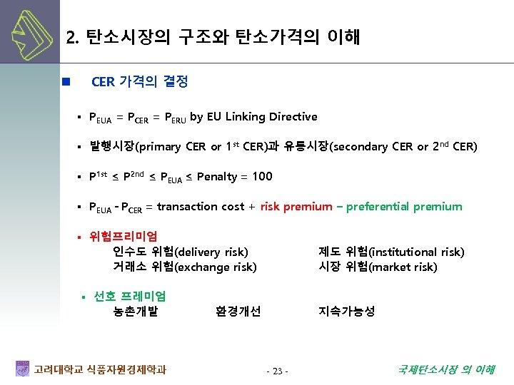2. 탄소시장의 구조와 탄소가격의 이해 n CER 가격의 결정 ▪ PEUA = PCER =