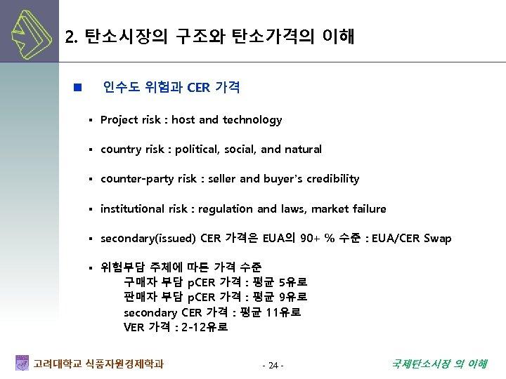 2. 탄소시장의 구조와 탄소가격의 이해 n 인수도 위험과 CER 가격 ▪ Project risk :