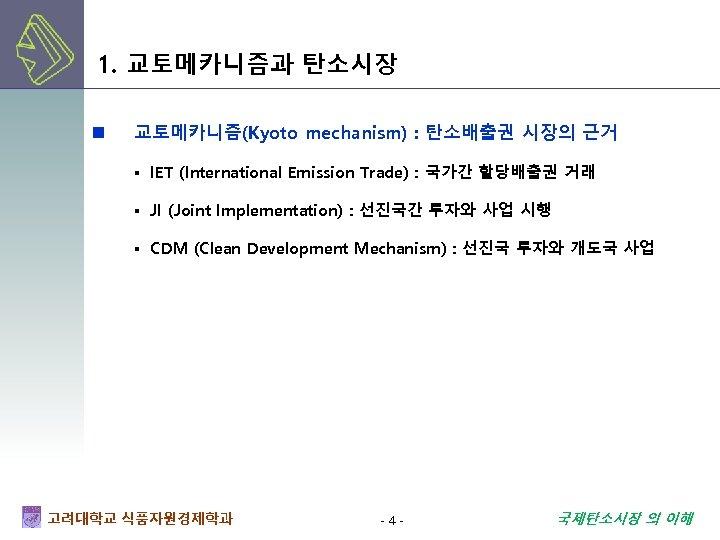 1. 교토메카니즘과 탄소시장 n 교토메카니즘(Kyoto mechanism) : 탄소배출권 시장의 근거 ▪ IET (International Emission