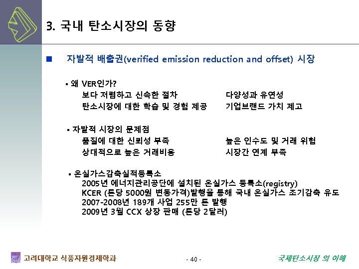 3. 국내 탄소시장의 동향 n 자발적 배출권(verified emission reduction and offset) 시장 ▪ 왜