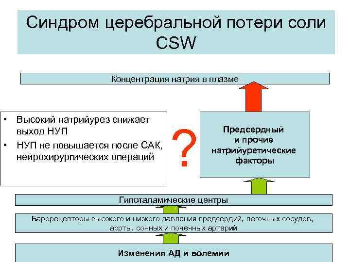 Синдром церебральной потери соли CSW Концентрация натрия в плазме • Высокий натрийурез снижает выход