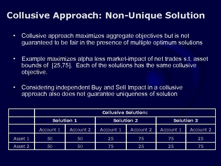Collusive Approach: Non-Unique Solution • Collusive approach maximizes aggregate objectives but is not guaranteed